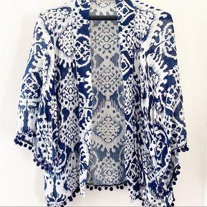 Hippie Laundry kimono with pompom fringe L